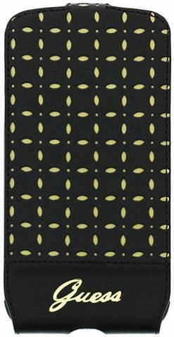 Samsung i9505 Galaxy S4 Original Guess Luxury Leather Slim Flip Case Cover GUFLS4PEB Black Gold maks
