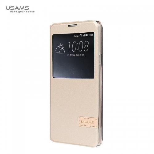 Usams Muge Super plāns Sāniski atverams maks ar lodziņu Huawei Mate 8 Zeltains
