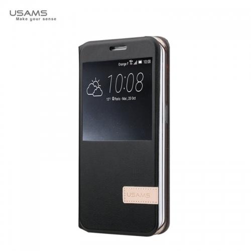 Usams Muge Super plāns Sāniski atverams maks ar lodziņu Huawei Mate 8 Melns