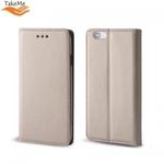 Takeme Magnēstikas Fiksācijas Sāniski atverams maks bez klipša Samsung Galaxy S10e / S10 Lite Zeltains