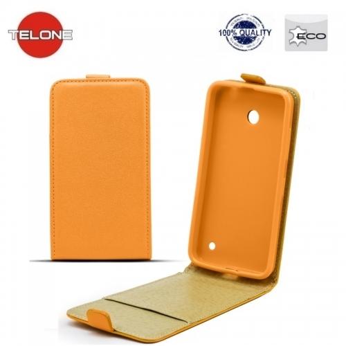 Telone Shine Pocket Slim Flip Case Microsoft Lumia 640XL telefona maks vertikāli atverams Oranžs