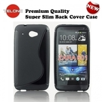 Telone Back Case S-Case gumijots telefona apvalks HTC Desire 601 Melns