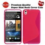 Telone Back Case S-Case gumijots telefona apvalks HTC Desire 816 Rozā