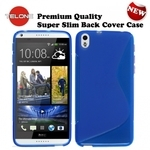 Telone Back Case S-Case gumijots telefona apvalks HTC Desire 816 Zils