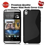 Telone Back Case S-Case gumijots telefona apvalks HTC Desire 816 Melns