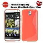 Telone Back Case S-Case gumijots telefona apvalks HTC Desire 610 Oranžs