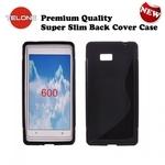 Telone Back Case S-Case gumijots telefona apvalks HTC Desire 600 Melns