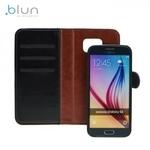 Blun Twin 2in1 Eko ādas sāniski atverams maks ar magnētisku maku-apvalku Huawei P8 Melns