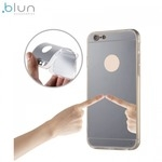 Blun super plāns silikona aizmugures apvalks ar caurspīdīgām malām un Spoguļveida aizmugurejo daļu priekš Apple iPhone 7 Plus (5.5inch) Sudrabains