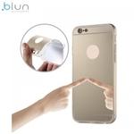 Blun super plāns silikona aizmugures apvalks ar caurspīdīgām malām un Spoguļveida aizmugurejo daļu priekš Huawei P8 Lite Zeltains