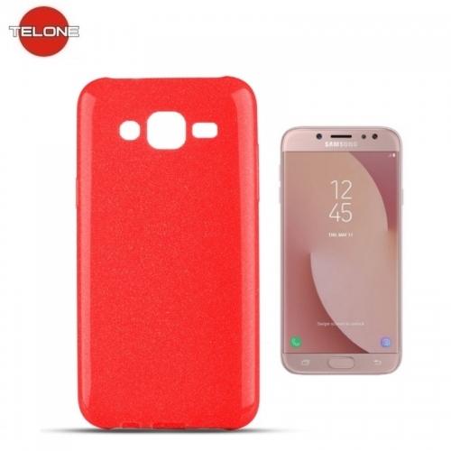 Telone Candy Super Plāns 0.3mm Silikongēla Telefona Apvalks ar spīdumiem Samsung J530F Galaxy J5 (2017) Sarkans