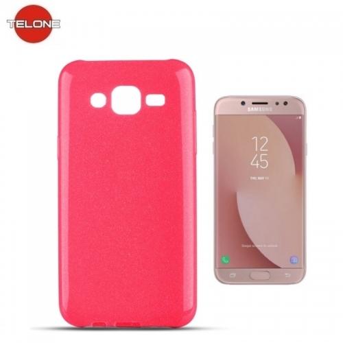 Telone Candy Super Plāns 0.3mm Silikongēla Telefona Apvalks ar spīdumiem Samsung J530F Galaxy J5 (2017) Rozā