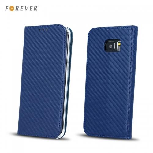 Forever Carbon Magnēstikas Fiksācijas Sāniski atverams maks bez klipša Samsung J530F Galaxy J5 (2017) Tumši zils