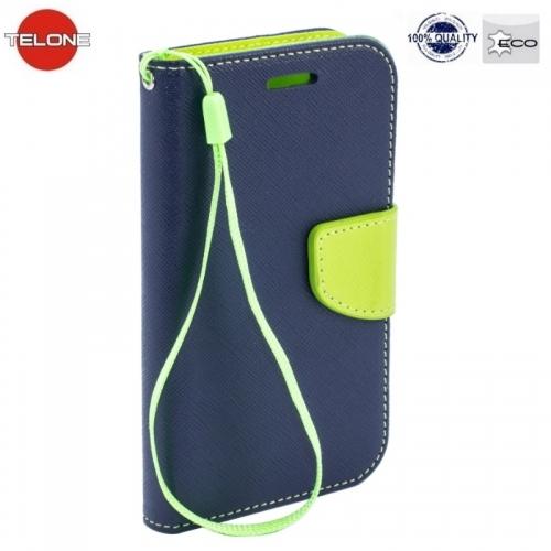 Telone Fancy Diary Book Case ar stendu Huawei Mate 10 Lite / Nova 2i / G10 sÄ?niski atverams Zils/SalÄ?tkrÄ?sas