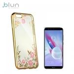 Blun DIAMOND super plāns silikona aizmugures maks-apvalks priekš Huawei Honor 9 Lite ar Zelta rāmīti