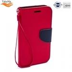 Takeme Fancy Diary Book Case ar stendu Samsung Galaxy A6 (2018) sāniski atverams Sarkans/Zils