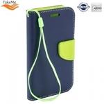 Takeme Fancy Diary Book Case ar stendu Huawei Y9 (2018) / Enjoy 8 Plus sāniski atverams Zils/Salātkrāsas