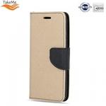 Takeme Fancy Diary Book Case ar stendu Samsung Galaxy J4+ 2018 (J415) sāniski atverams Zeltains/Melns
