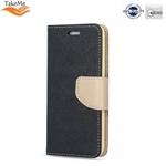 Takeme Fancy Diary Book Case ar stendu Samsung Galaxy J4+ 2018 (J415) sāniski atverams Melns/Zeltains