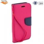 Takeme Fancy Diary Book Case ar stendu Huawei Y7 (2019) sāniski atverams Rozā/Zils