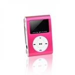 Setty Metal Clip MP3 Pleijeris ar FM Radio LCD Displeju Micro SD slotu līdz 32GB biebūvētu Li-Ion Batereju Rozā