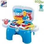 Plastica 91611 Plastmasas bērnu 2in1 krēsls-darba virsma ārsta instrumentu komplekts (13gab.) bērniem no 3 gadiem + (47x26x37cm)