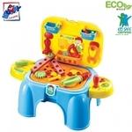 Plastica 91610 Plastmasas puišu 2in1 krēsls-darba virsma instrumentu komplekts (33gab.) bērniem no 3 gadiem + (47x26x37cm)
