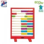Woody 90009 Skaitīšanu apmācoša eko koka ierīce bērniem no 3 gadiem + (Sarkana ar krāsainām pērlītēm) (19x26сm)