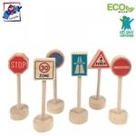 Woody 90575 Eko koka ceļa zīmes visāda veida dzelzceļa un auto trasēm (6gab.) bērniem no 3 gadiem + (10cm)
