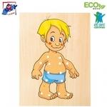 """Woody 90018 Eko koka pamācošā un attīstoša rotaļlieta ar šnorēm """"Apģērb Puisīti"""" (10gab.) bērniem no 3 gadiem + (18x22сm)"""