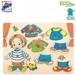 Woody 90320 Eko koka attīstošā puzle ''Sebastian'' (8gab.) bērniem no 3 gadiem + (30x23сm)