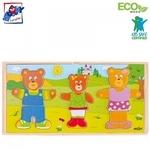 """Woody 90810 Eko koka attīstošā puzle """"Lāču ģimene"""" (54gab.) bērniem no 3 gadiem + (28x14сm)"""