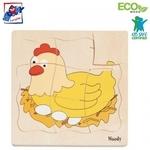 """Woody 90073 Eko koka attīstošā puzle """"Vistas attīstības posmi"""" 4 attēli (20gab.) bērniem no 3 gadiem + (18x19сm)"""