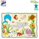 """Woody 90252 Eko koka attīstošā puzle """"Jūras dzīve"""" (12gab.) bērniem no 2 gadiem + (30x21cm)"""