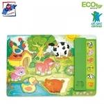 """Woody 90323 Eko koka attīstošā puzle ar skaņām """"Dzīvnieki"""" (6gab.) bērniem no 3 gadiem + (30x21cm)"""