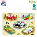 """Woody 90331 Eko koka attīstošā puzle ar skaņām """"Mašīnas"""" (5gab.) bērniem no 3 gadiem + (30x23cm)"""