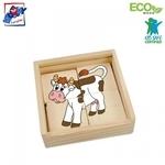 Woody 93003 Eko koka attīstošā mini puzle koka kastītē - Vilciens (16gab.) bērniem no 2 gadiem + (11x11cm)