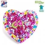 """Woody 90213 Eko koka radošs krāsaino pērļu komplets meitenēm """"Sirsniņa"""" bērniem no 3 gadiem + (18x19x1.9cm)"""