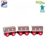 Woody 91851 Eko koka attīstošs komplekts - Vilciens un vagoni ar magnētiskiem elementiem (3gab.) bērniem no 3 gadiem + (21.5cm)