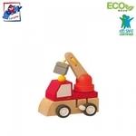 Woody 91000 Eko koka attīstoša mehāniski iedarbināma Sarkana mašīna bērniem no 3 gadiem + (7x5x6.5cm)