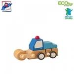 Woody 91000 Eko koka attīstoša mehāniski iedarbināma Zila mašīna bērniem no 3 gadiem + (7x5x6.5cm)