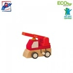 Woody 90999 Eko koka attīstoša mehāniski iedarbināma Sarkana mašīna bērniem no 3 gadiem + (7x5x6.5cm)
