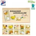 Woody 90092 Attīstoša Eko koka spēle domino - Dzīvnieki (28gab.) bērniem no 3 gadiem + (19x10сm)