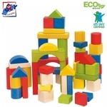 Woody 90651 Attīstošie dažādu formu koka krāsainie kluči (50gab.) bērniem no 1 gada +
