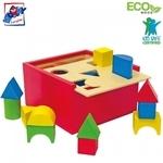 Woody 90001 Attīstoša Eko koka šķirošanas kaste ar krāsainiem ģeomētriskiem klucīšiem (20gab.) bērniem no 2 gadi + (16x16cm)