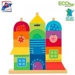 Woody 90235 Attīstoša krāsaina Eko Koka māju piramīda - konstruktors (27gab.) bērniem no 2 gadi + (26x23cm)