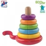 Woody 90674 Attīstoša krāsaina Eko Koka Piramīda-konstruktors ar magnētiskiem elementiem (13gab.) bērniem no 2 gadi + (13x17cm)