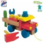 Woody 90101 Eko koka attīstoša krāsaina kravas automašīna ar instrumentiem (17gab.) bērniem no 3 gadiem + (22x15cm)
