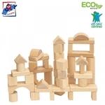 Woody 90650 Attīstošie dažādu ģeometrisko formu koka vienkrāsainie kluči (50gab.) bērniem no 1 gada +