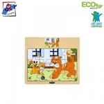 """Woody 93010 Eko koka attīstošā puzle """"Kaķīši"""" (12gab.) bērniem no 3 gadiem + (17x13cm)"""